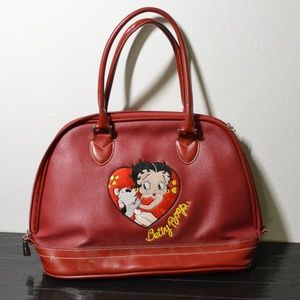 Vtg Red Betty Boop Embroidered Leather Handbag Bag